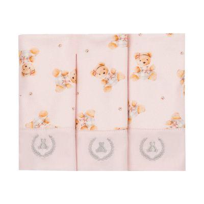 Kit toalha de boca com 3 peças ursinha - Rosa bebê