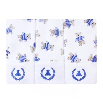 Kit toalha de boca com 3 peças ursinho - Branco e azul bebê