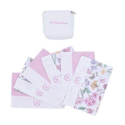Kit toalha de boca com 7 peças floral - Rosa bebê e branco