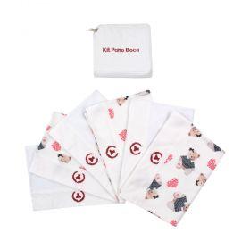 Kit toalha de boca com 6 peças ursinha - Branco