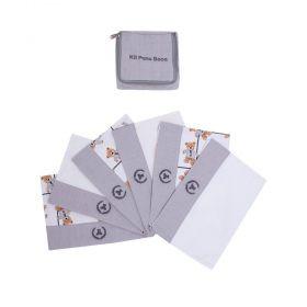 Kit toalha de boca com 6 peças ursinho - Cinza