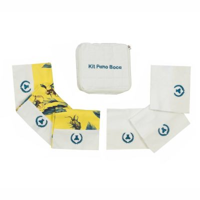 Kit toalha de boca com 7 peças floral - Amarelo e marfim