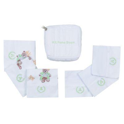 Kit toalha de boca com 7 peças ursinho com coroa - Branco e verde claro