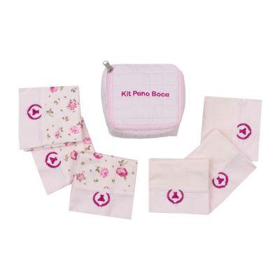 Kit toalha de boca com 7 peças floral - Rosa bebê
