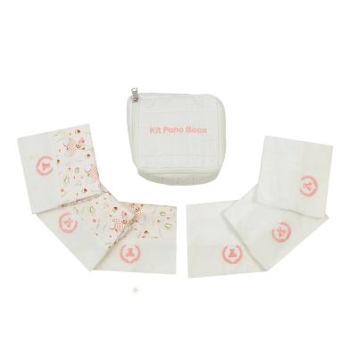 Kit toalha de boca com 7 peças ursinha - Off white e coral