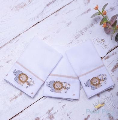 Kit toalha de boca elefante 3 peças - Branco e bege