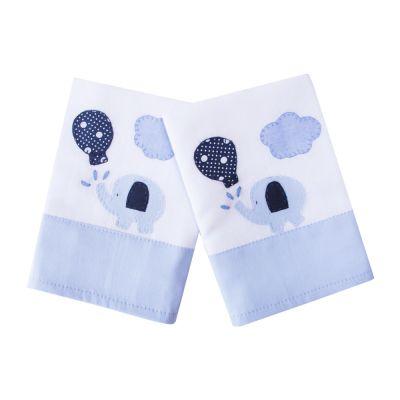 Kit toalha de boca elefante com 2 peças - Branco e azul