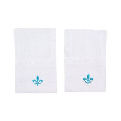 Kit toalha de boca flor de lis 2 peças - Branco e azul tiffany