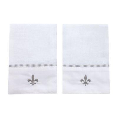 Kit toalha de boca flor de lis 2 peças - Branco e cinza