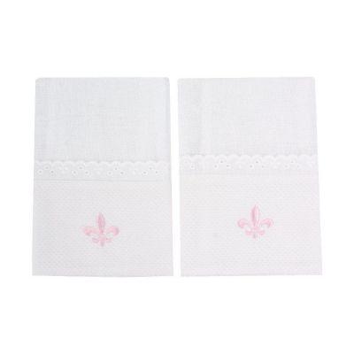 Kit toalha de boca flor de lis 2 peças - Branco e rosa
