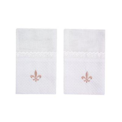 Kit toalha de boca flor de lis 2 peças - Branco e rosê