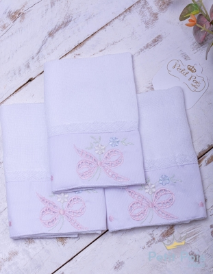 Kit toalha de boca laços com renda 3 peças - Branco e rosa