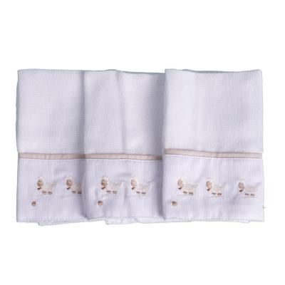 Kit toalha de boca ovelha 3 peças - Branco e bege