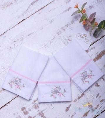 Kit toalha de boca pássaro 3 peças - Branco e rosa