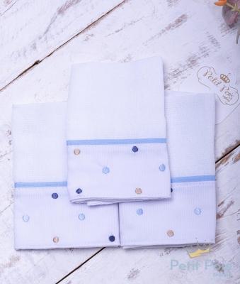 Kit toalha de boca poás 3 peças - Branco e azul bebê