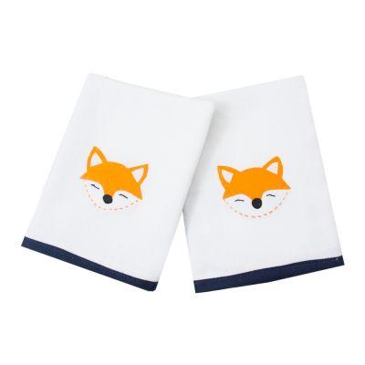 Kit toalha de boca raposa com 2 peças - Branco e azul marinho