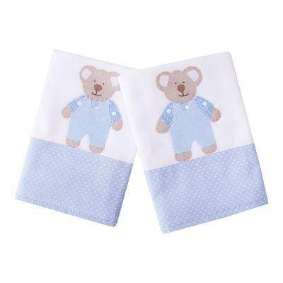 Kit toalha de boca ursinho com 2 peças - Branco e azul