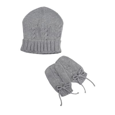 Kit touca e luca em tricot - Cinza