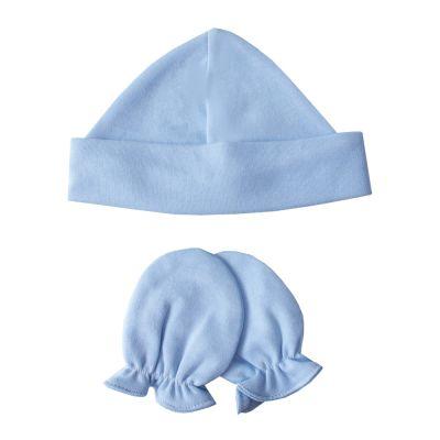 Kit touca e luva em suedine - Azul bebê