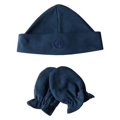 Kit touca e luva em suedine - Azul marinho