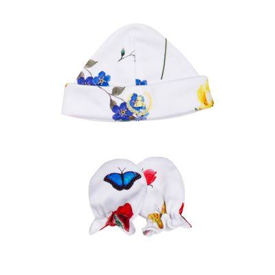 Kit touca e luva em suedine borboleta - Branco e azul