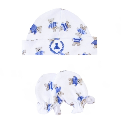 Kit touca e luva em suedine ursinho - Branco e azul bebê