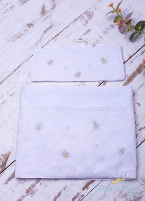 Lençol de berço floral 3 peças - Branco