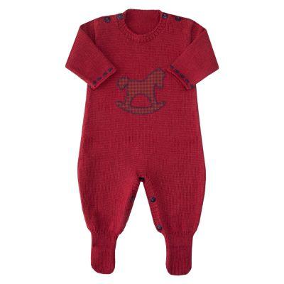 Macacão bebê cavalinho - Vermelho