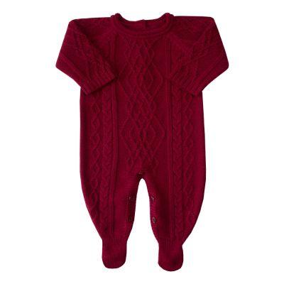 Macacão bebê aran central e trança lateral - Vermelho red night