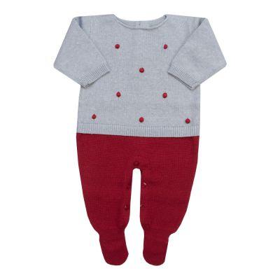Macacão bebê bolinha 2 cores - Cinza e vermelho red night