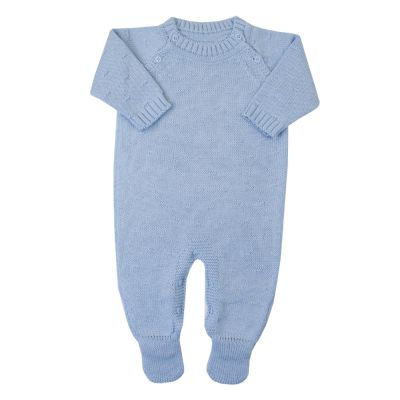 Macacão bebê bolinha nervura - Azul bebê