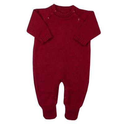 Macacão bebê bolinha nervura - Vermelho