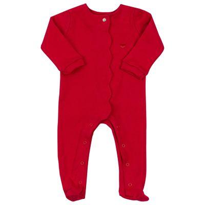 Macacão bebê botão embutido - Vermelho