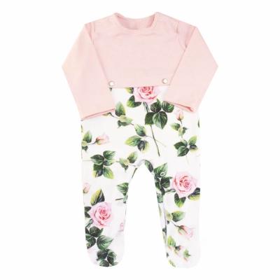 Macacão bebê botão na cintura floral - Branco e rosa