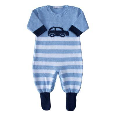 Macacão bebê carrinho - Azul bebê