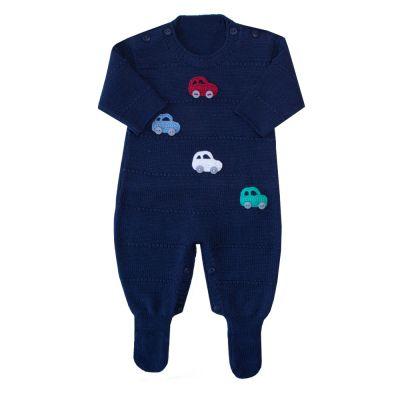Macacão bebê carrinhos - Azul bebê
