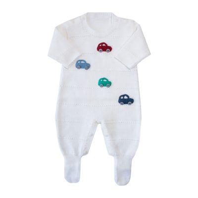 Macacão bebê carrinhos - Off white
