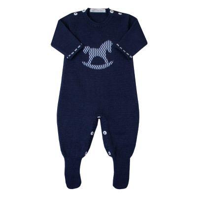 Macacão bebê cavalinho - Azul marinho