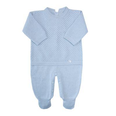 Macacão bebê colmeia - Azul pó