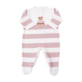 Macacão bebê com bordado de ursinho - Rosa bebê e branco