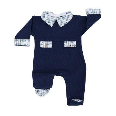 Macacão bebê com carrinhos - Azul marinho