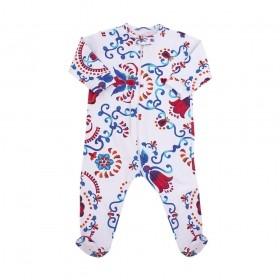 Macacão bebê com pé floral - Branco