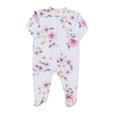 Macacão bebê com zíper e pé floral - Branco