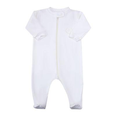 Macacão bebê com zíper e pé - Off white