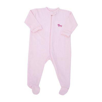 Macacão bebê com zíper e pé - Rosa bebê