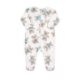 Macacão bebê com zíper e pé ursinho - Branco