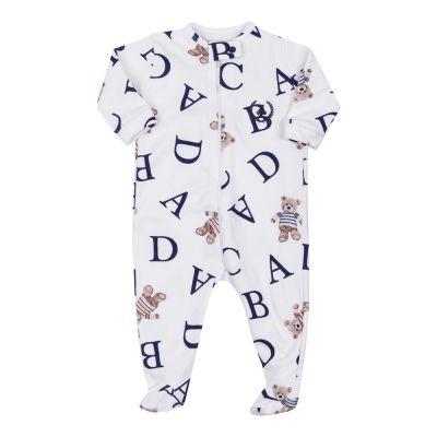 Macacão bebê com zíper e pé ursinho - Branco e azul marinho