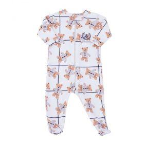 Macacão bebê com zíper e pé ursinho - Marfim