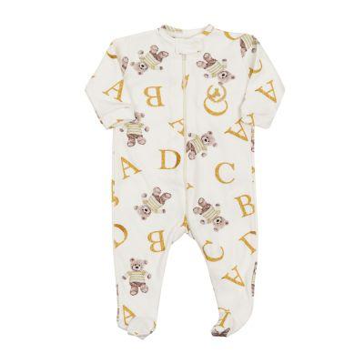 Macacão bebê com zíper e pé ursinho - Off white e dourado