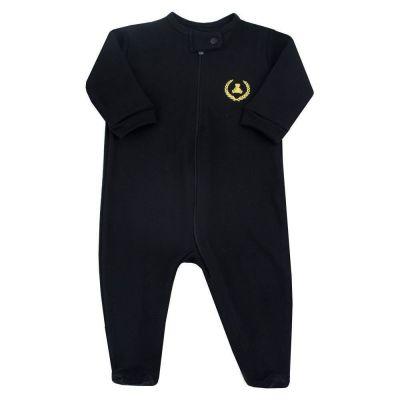 Macacão bebê com zíper - Preto